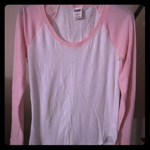 VS Pink LS Pink/White Soft Shirt NWOT